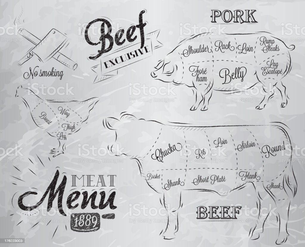 Meat Menu coal royalty-free stock vector art