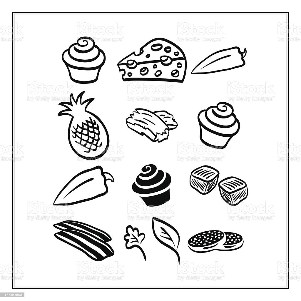 Meat Pizza Ingredients Isolated on White vector set royalty-free stock vector art