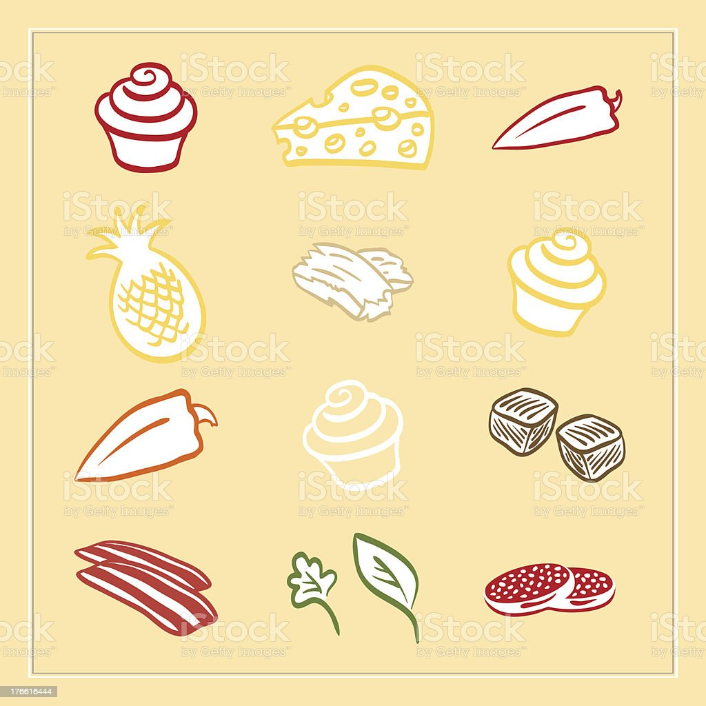 Meat Pizza ingredients vector set royalty-free stock vector art