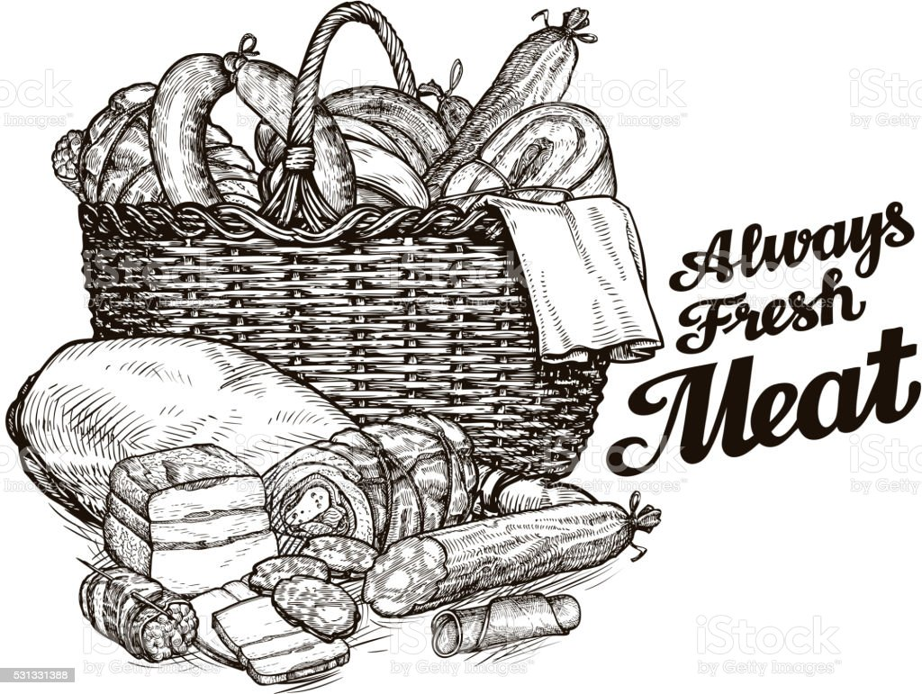 meat products. hand drawn sketches of food. vector illustration vector art illustration