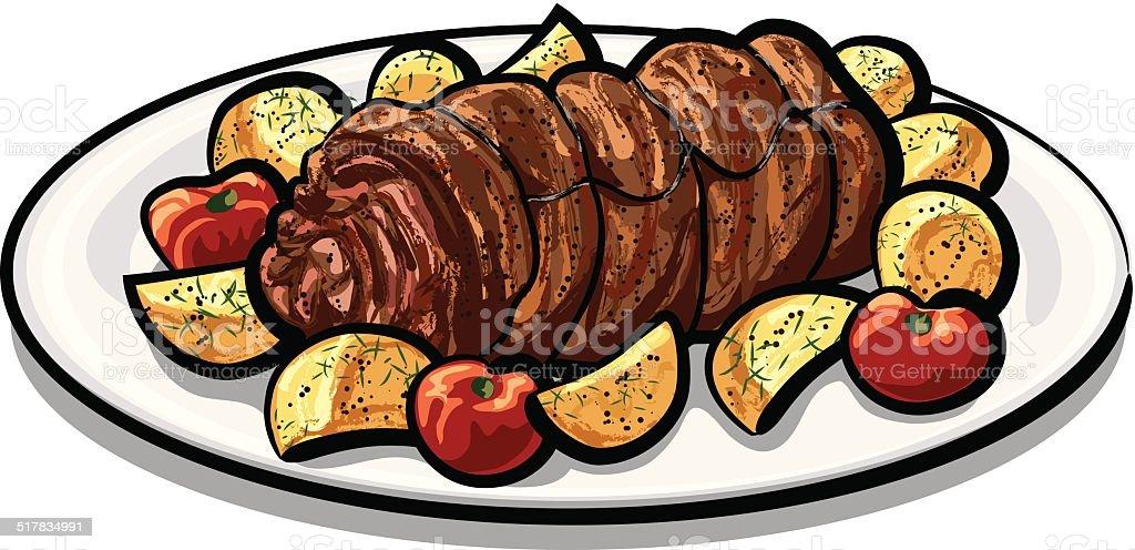 meat roulade vector art illustration