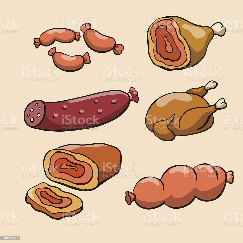 Meat, sausages and poultry royalty-free stock vector art