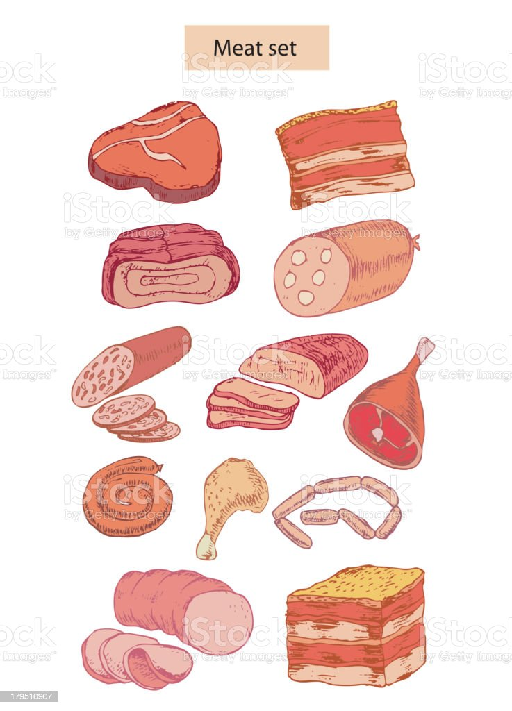 meat set detailed illustration royalty-free stock vector art