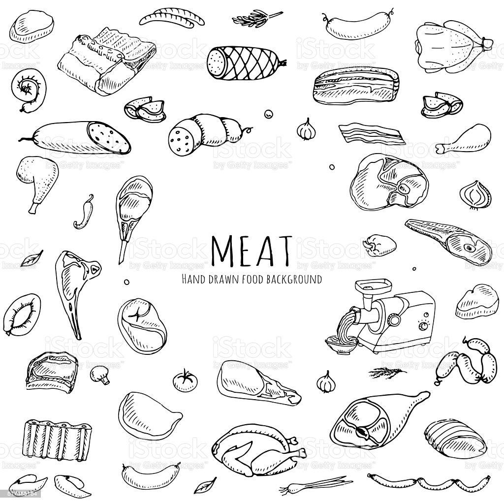 Meat set vector art illustration