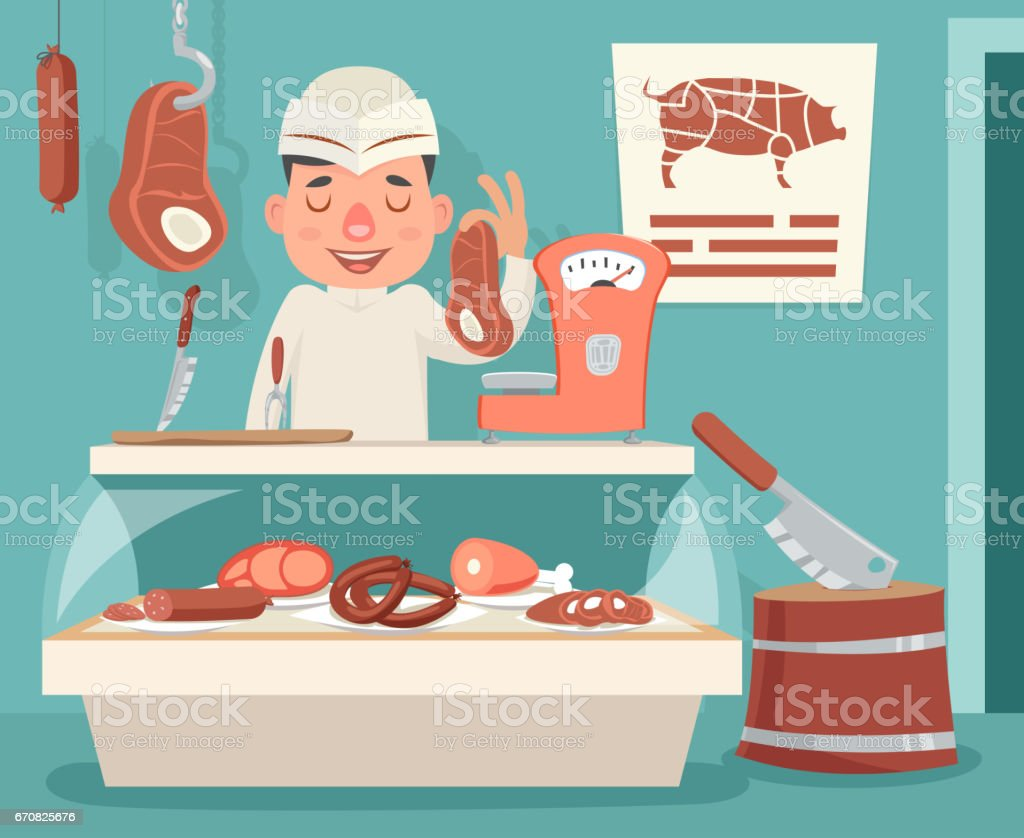 Meat Shop Counter Butcher Seller Retro Vintage Cartoon Character Icon Background Design Vector Illustration vector art illustration