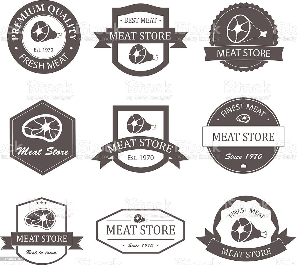 Meat store labels, logos and badges set vector art illustration