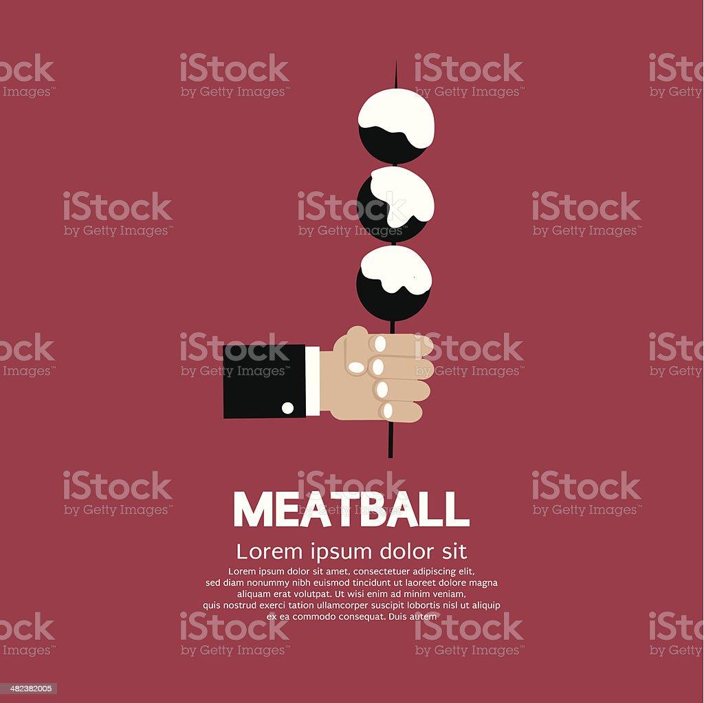 Meatball In Skewer vector art illustration