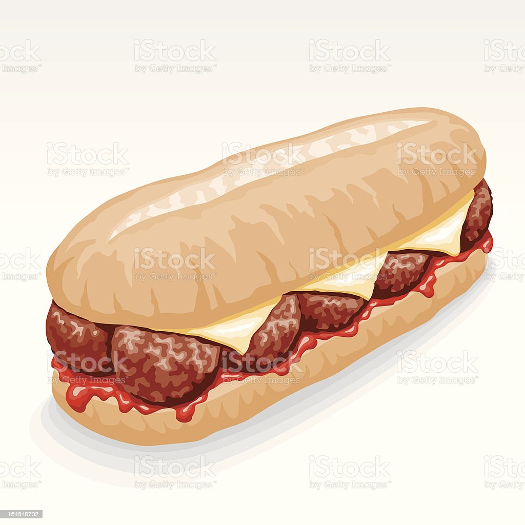 Meatball Submarine Sandwich vector art illustration