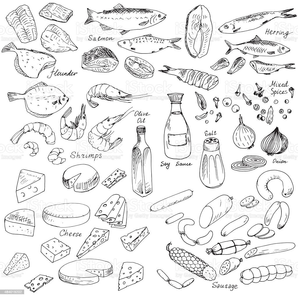 meat,fish and cheese, food set vector art illustration