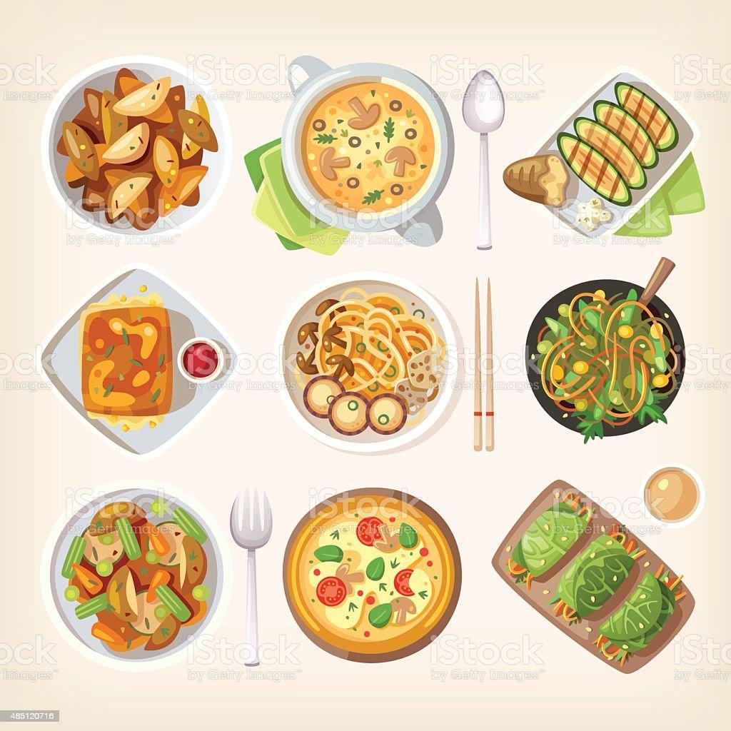 Meatless vegetarian cuisine vector art illustration