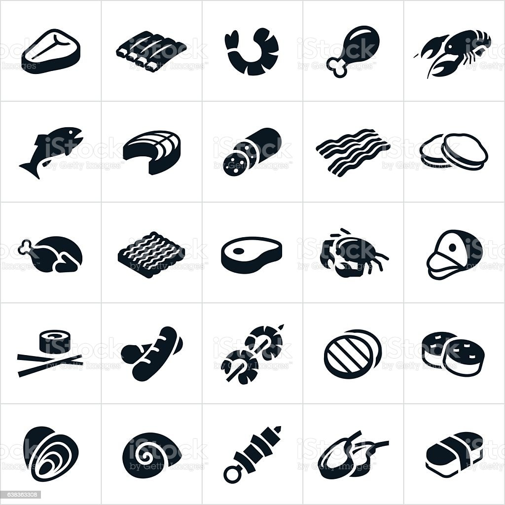Meats and Seafood Icons vector art illustration