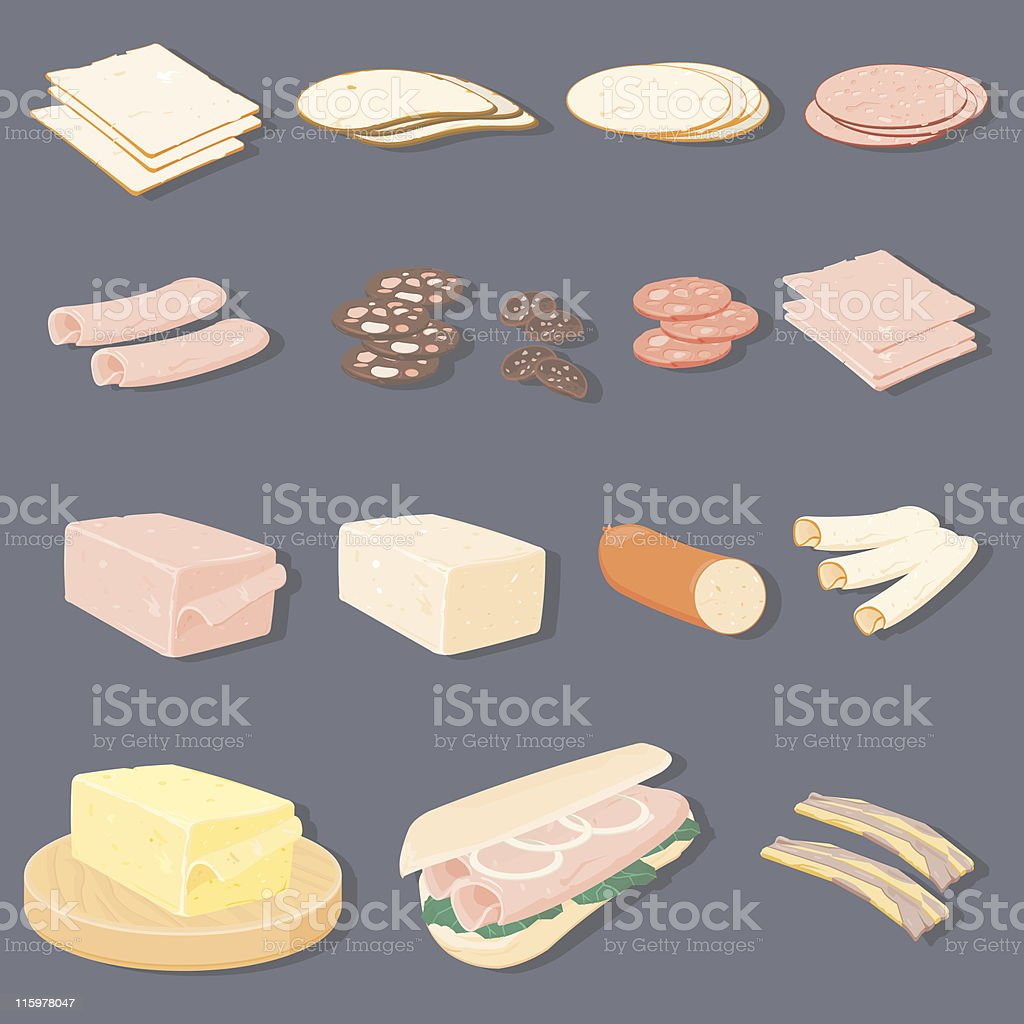 Meats & Cheese With Sub Roll vector art illustration