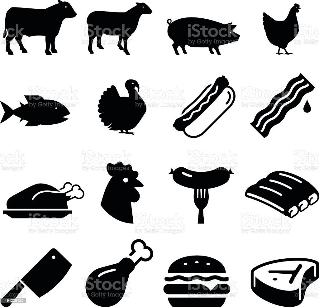 Meats Icons - Black Series vector art illustration