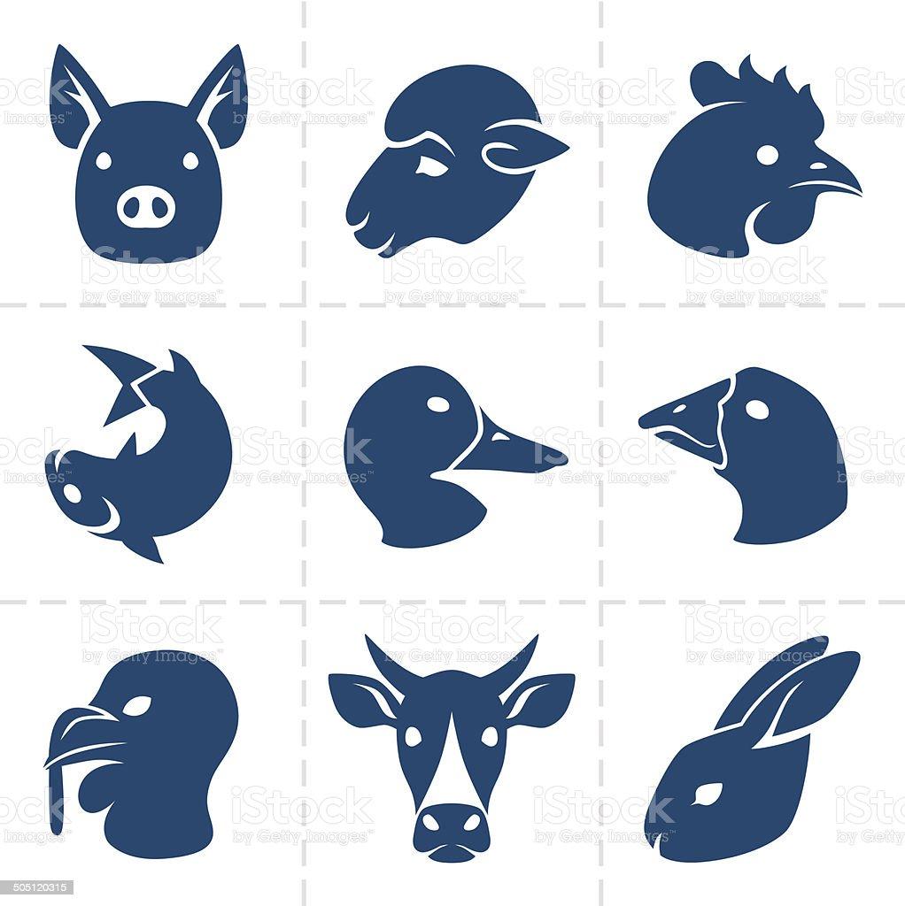 meats icons vector art illustration