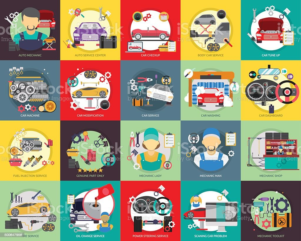 Mechanic and Car Repair vector art illustration