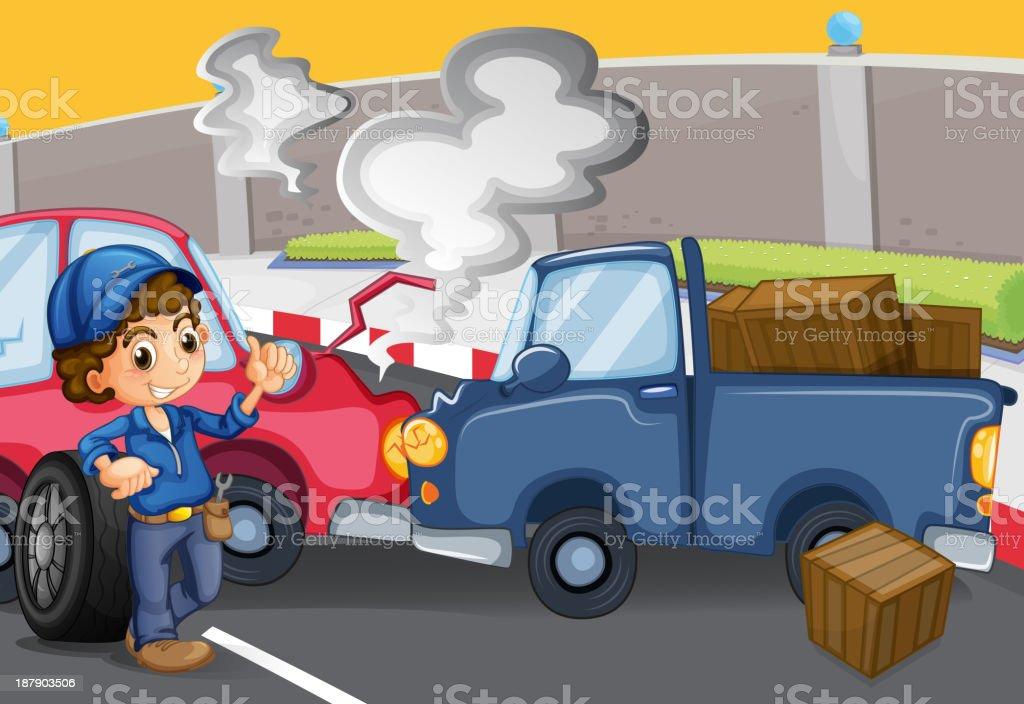 mechanic boy near the cars bumping royalty-free stock vector art