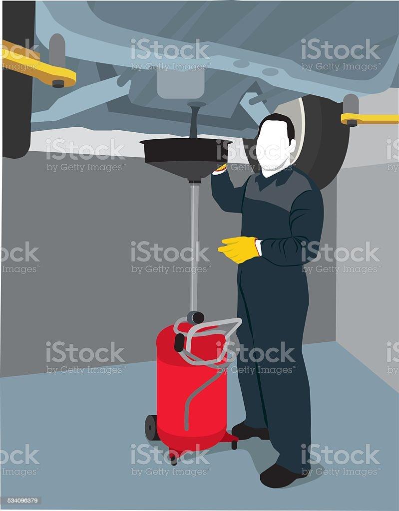 Mechanic changing oil vector art illustration