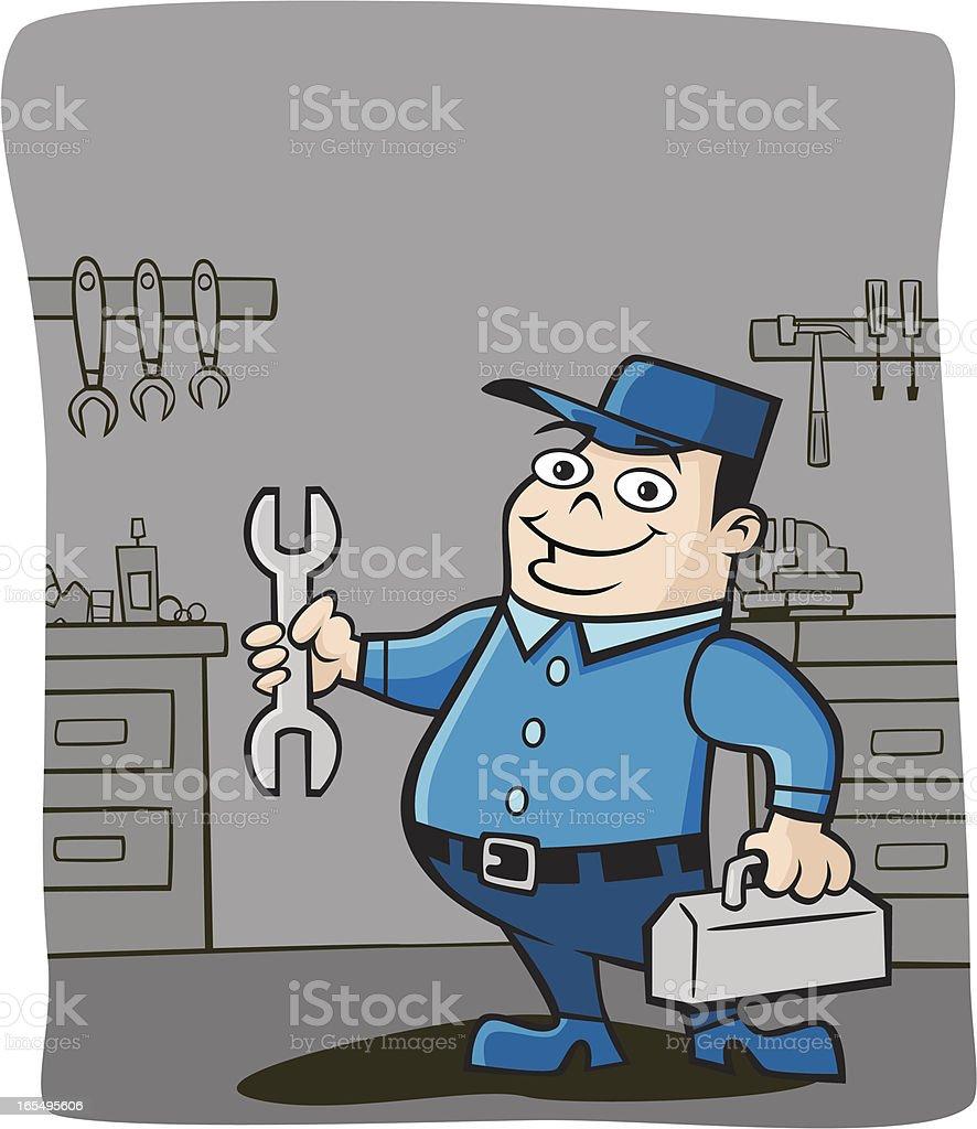Mechanic in his Garage vector art illustration