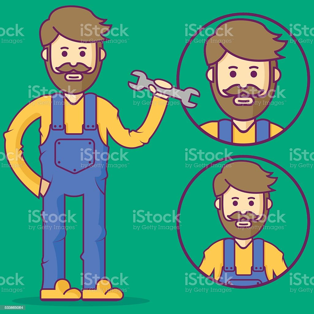 Mechanic in overalls and with wrench. vector art illustration