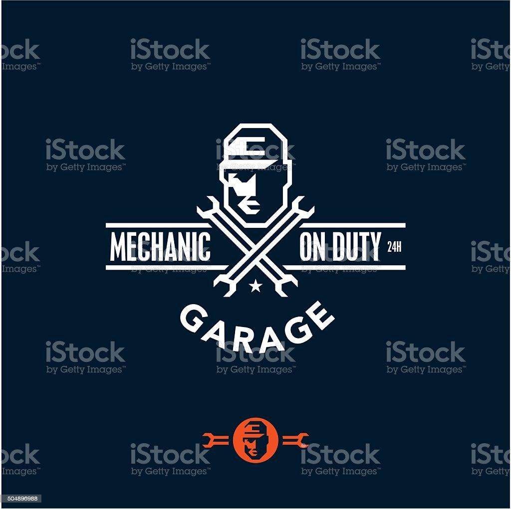 mechanic on duty, garage vector art illustration