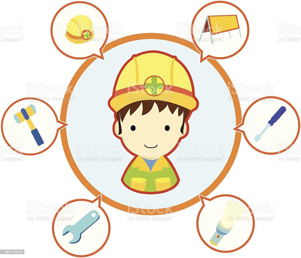 Mechanic repairman with job tool icons royalty-free stock vector art