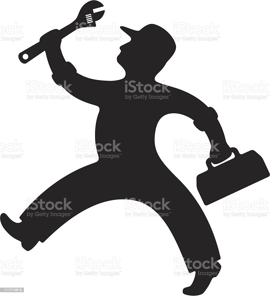 Mechanic with Adjustable Wrench vector art illustration