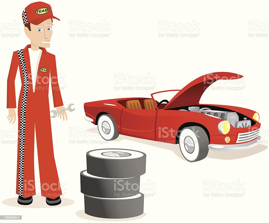 Mechanic with red sports car vector art illustration