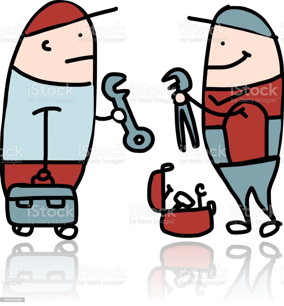 Mechanic with wrench and suitcase for instruments royalty-free stock vector art