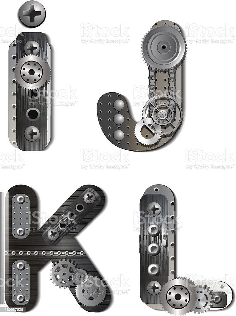 Mechanical alphabet of metal gears in vector shapes royalty-free stock vector art