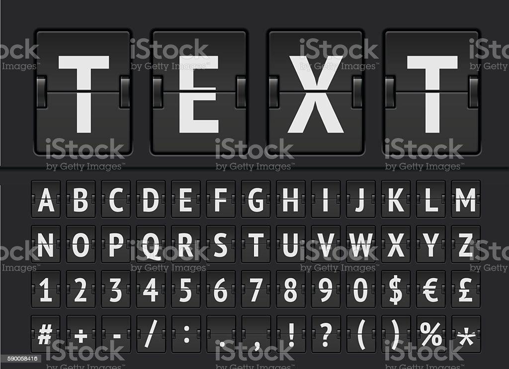 Mechanical timetable display alphabet vector - Illustration vector art illustration