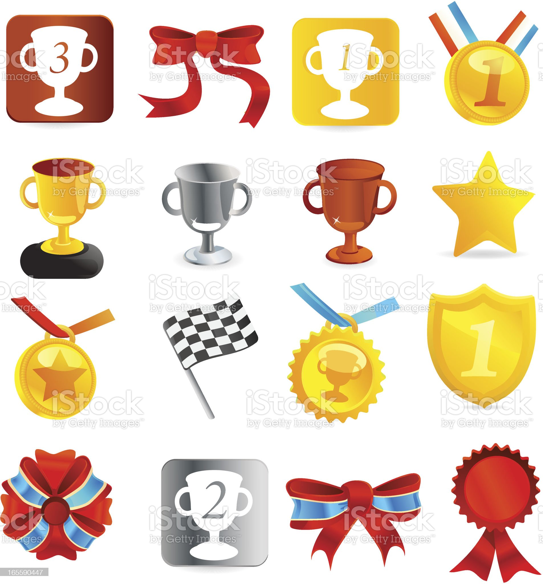 Medal & Tournament trophies Icons] royalty-free stock vector art
