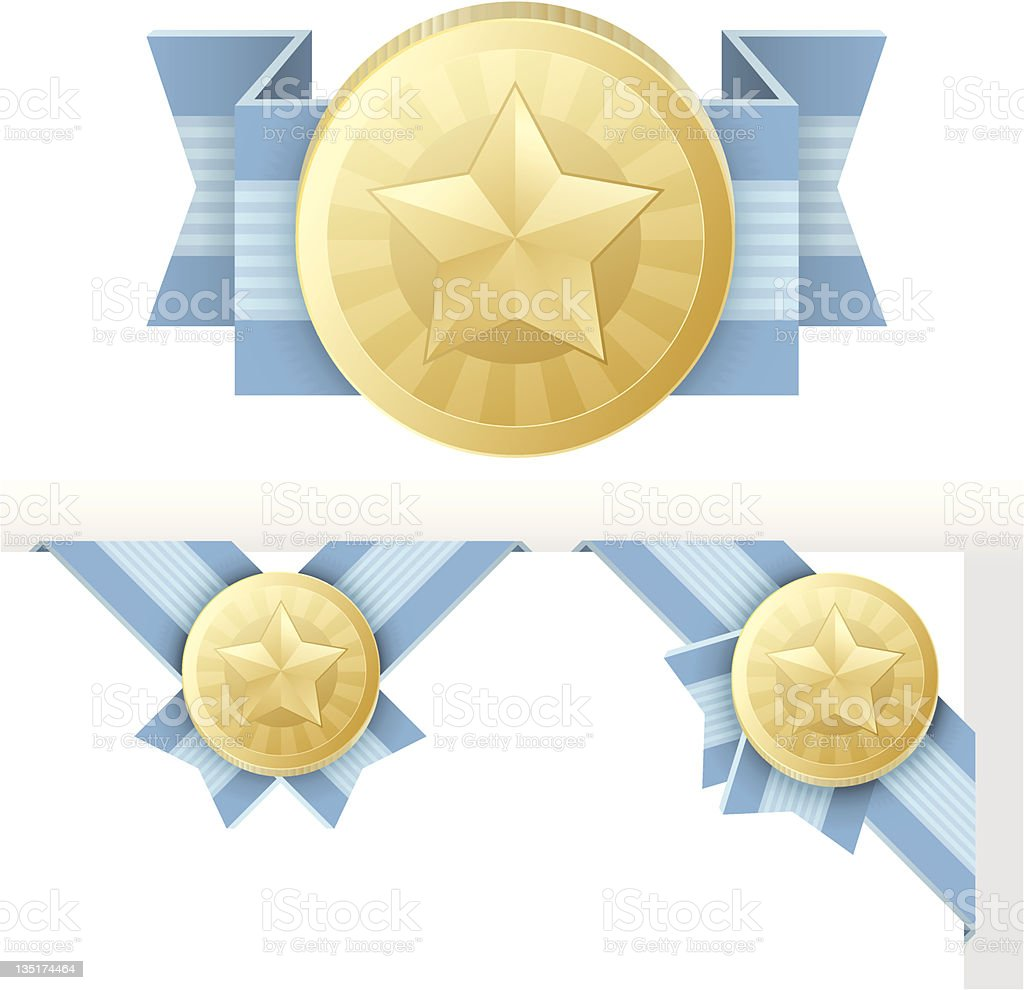 Medal Award or Certification Emblem, Vector Illustration royalty-free stock vector art