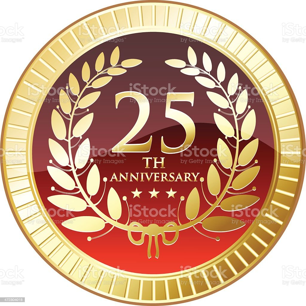 Medal celebrating twenty fifth anniversary royalty-free stock vector art