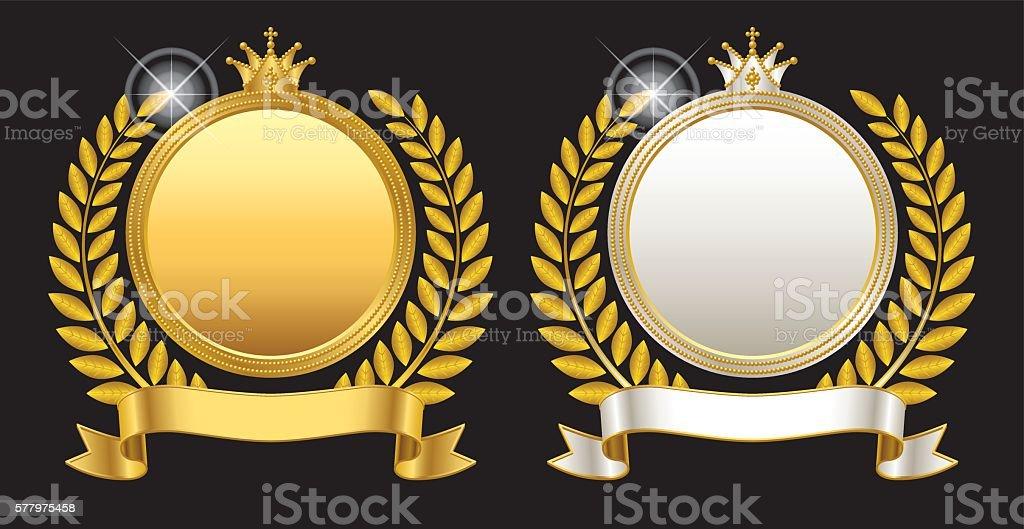 Medal emblem crown vector art illustration