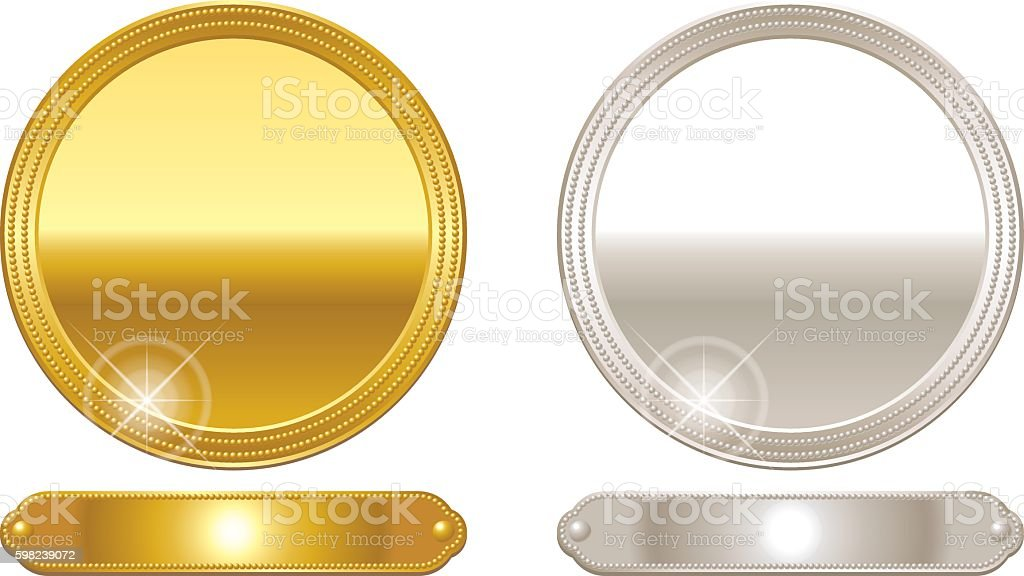 Medal. Gold and silver. Frame. vector art illustration