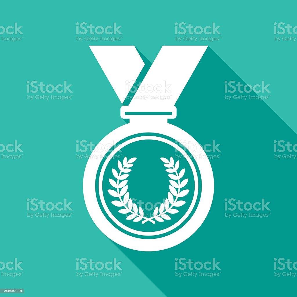 Medal Icon White vector art illustration