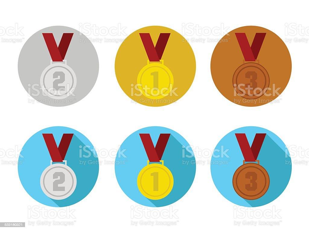 Medal Icons vector art illustration