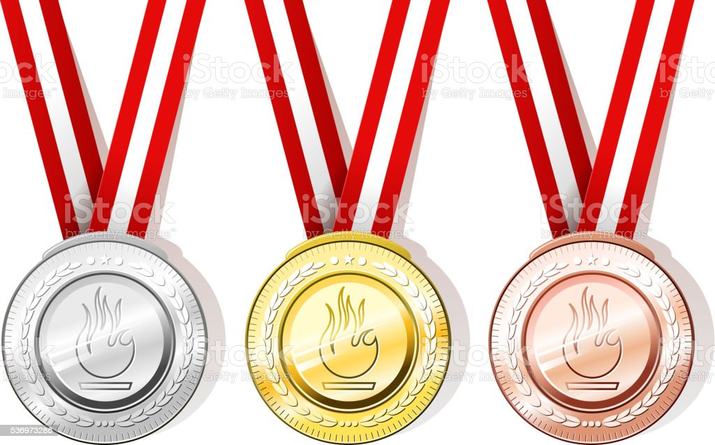 medal set vector art illustration