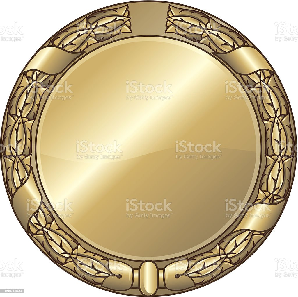 Medal with laurel wreath royalty-free stock vector art