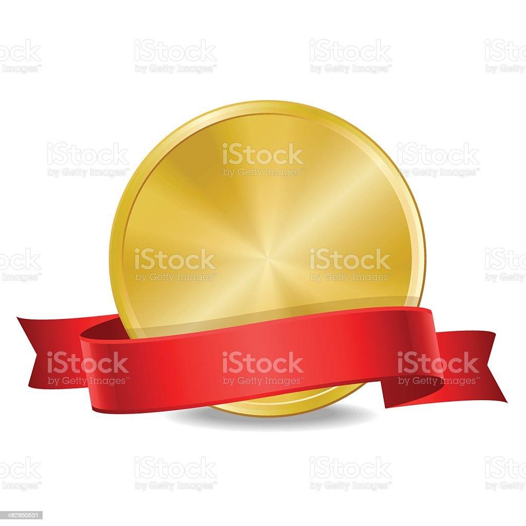 Medal with ribbon vector art illustration