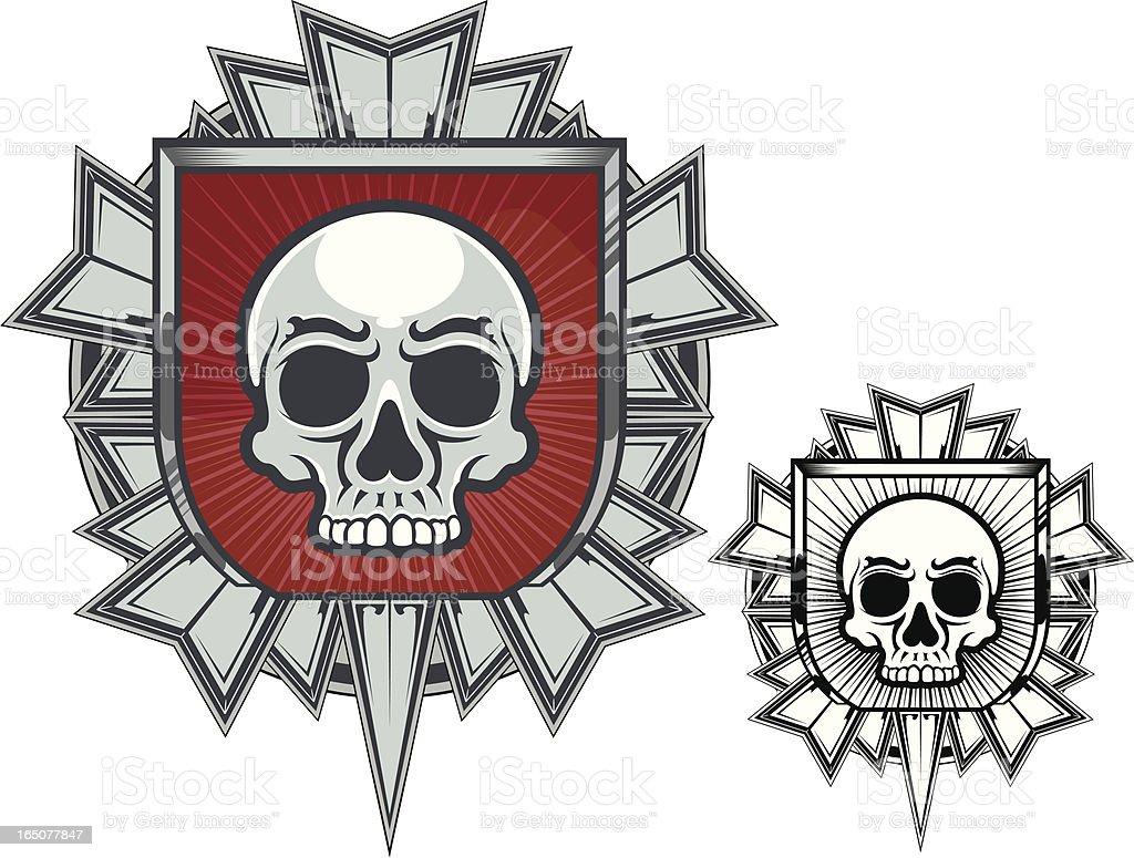 Medal with Skull vector art illustration