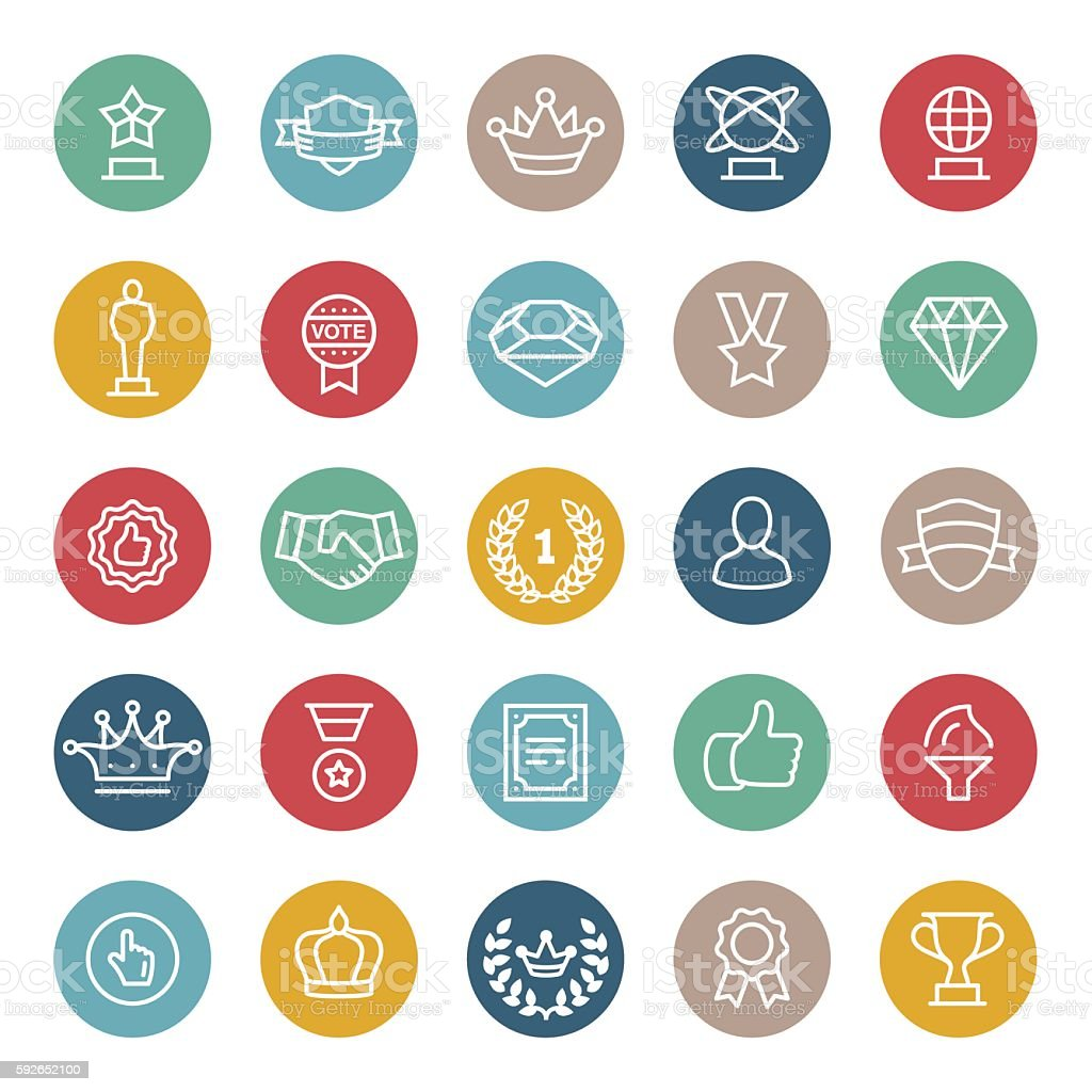 Medals and Awards Line Icons vector art illustration