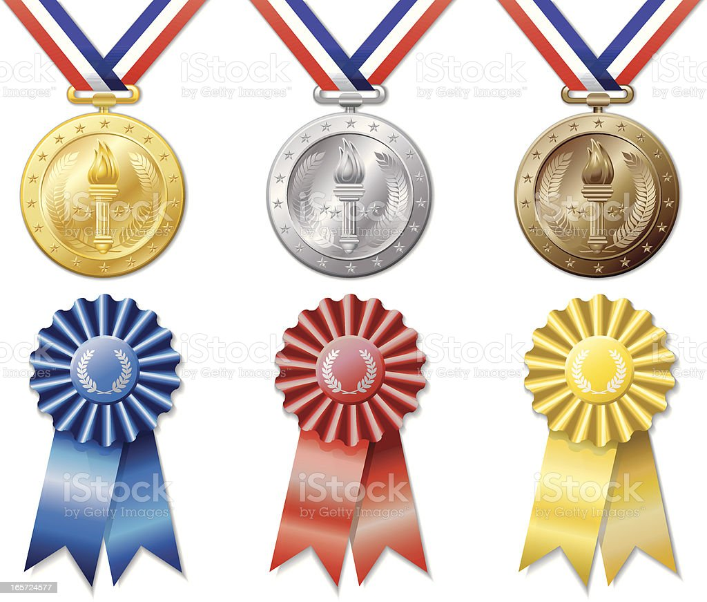 Medals and Ribbons royalty-free stock vector art