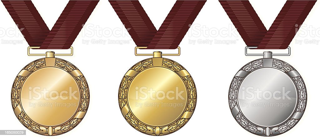 Medals gold silver and bronze royalty-free stock vector art