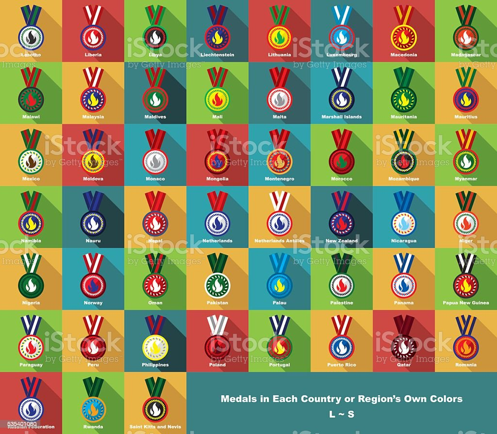 Medals in Each Country or Region's Own Colors (L~S) vector art illustration