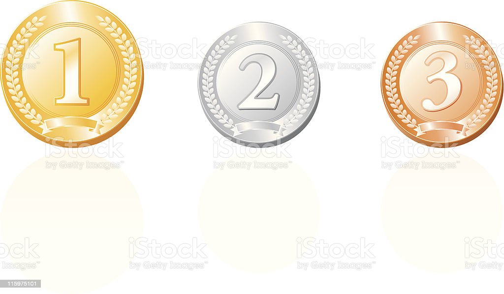Medals In gold,silver and bronze royalty free vector illustration royalty-free stock vector art