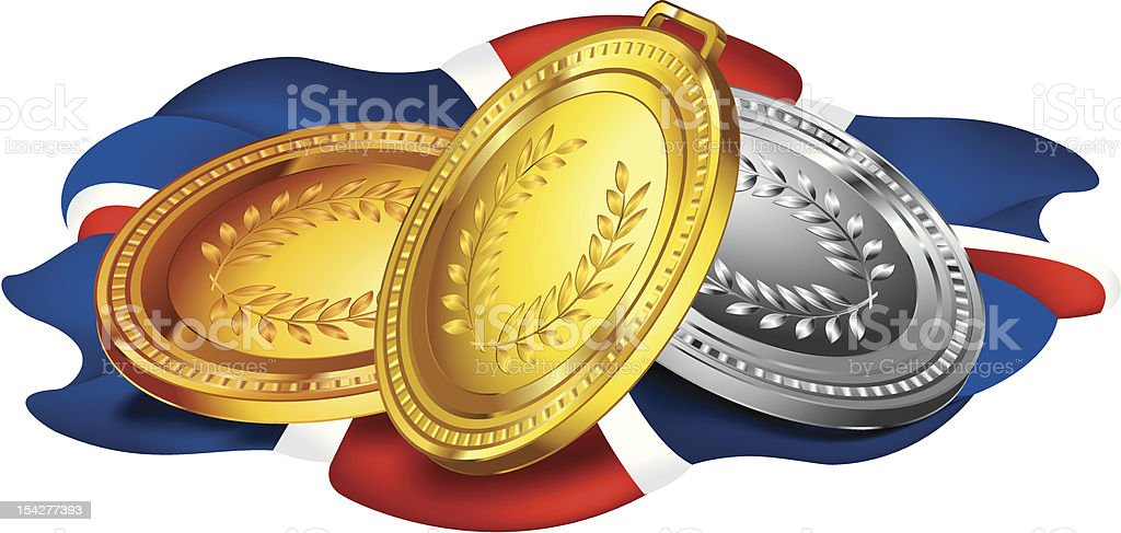 Medals laying on a flag royalty-free stock vector art