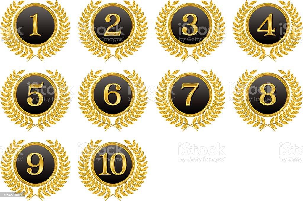 Medals, ranking, top ten. vector art illustration