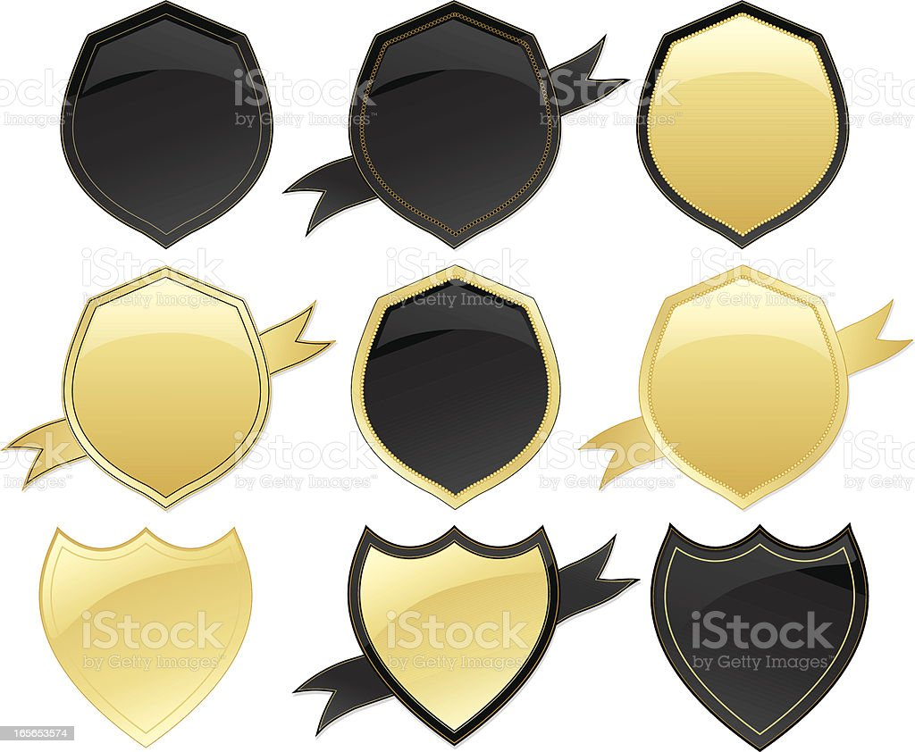 Medals, Shields, Ribbons Design Elements Set - Black, Gold royalty-free stock vector art