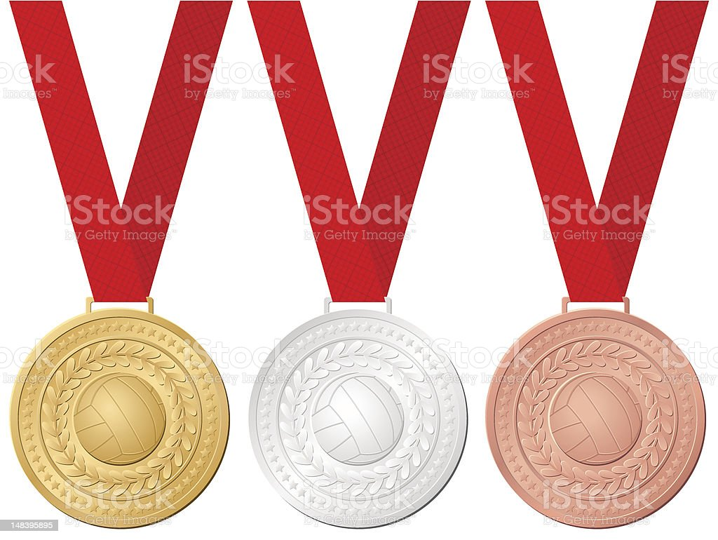 medals volleyball royalty-free stock vector art